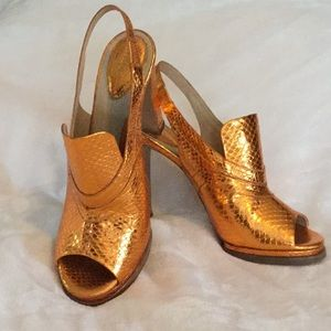 Orange bronze metallic Chloe heels sz 41